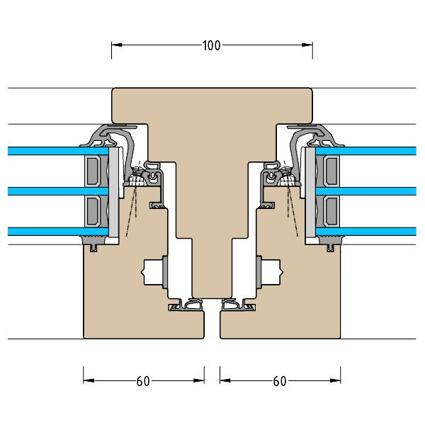 Holz-Integral-Fenster HIT Pfosten Schnitt